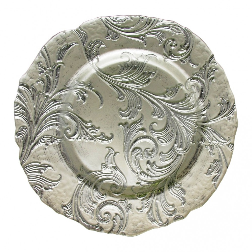ChargeIt by Jay Vanessa Silver Glass Charger Plate 13""