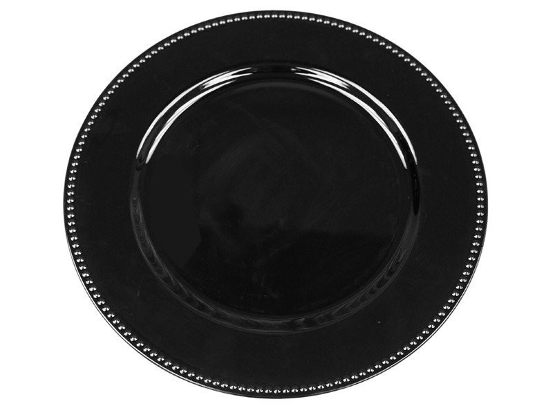 Ya Ya Creations Black Beaded Acrylic Round Charger Plate 13""