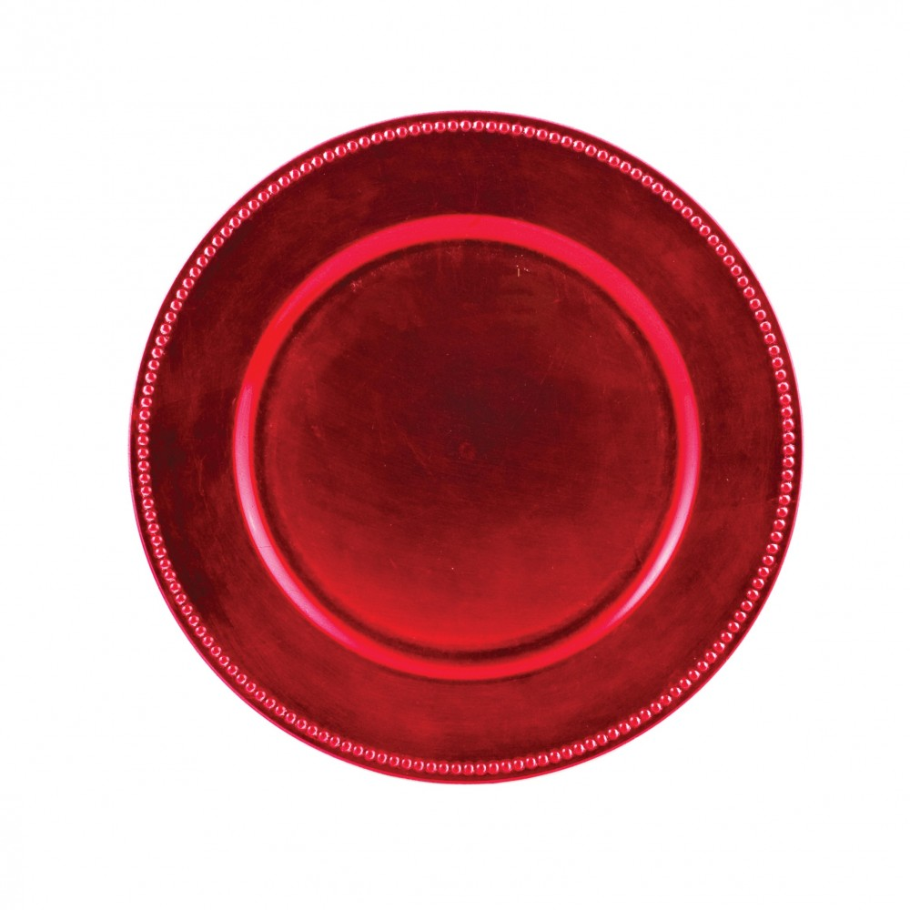 "Ya Ya Creations Fuchsia Beaded Acrylic Round Charger Plate 13"""