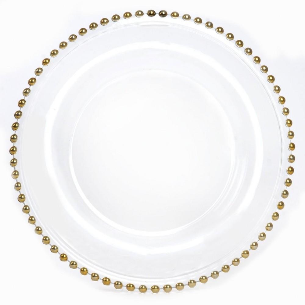 "Ya Ya Creations Gold Bead Rim Glass Charger Plate 13"""