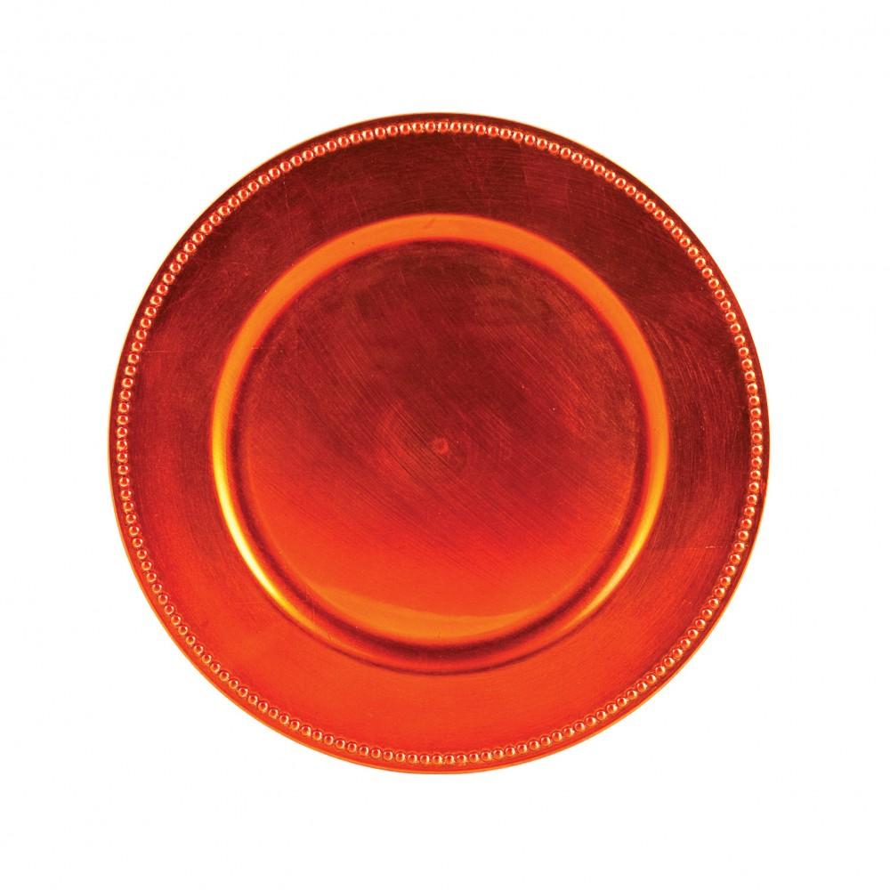 "Ya Ya Creations Orange Beaded Acrylic Round Charger Plate 13"""