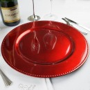 "Ya Ya Creations Red Beaded Acrylic Round Charger Plate 13"""