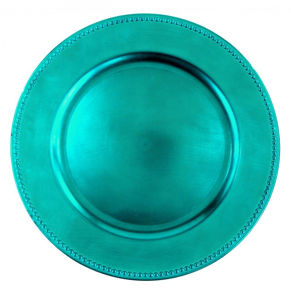 "Ya Ya Creations Turquoise Beaded Acrylic Round Charger Plate 13"""